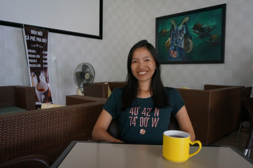 Thanh in an indoors café in Plei Ku