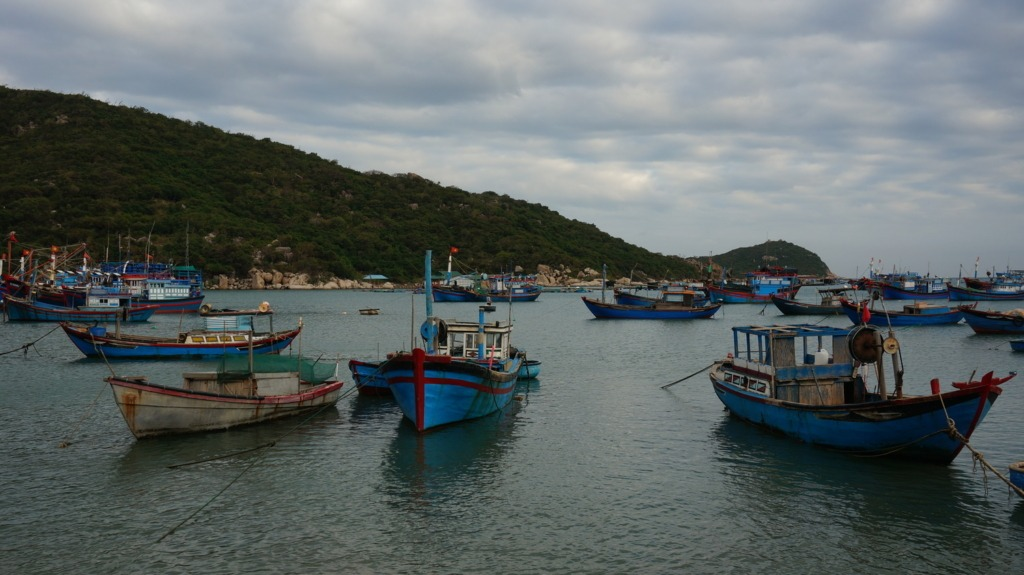 Fishing boats at Vinh Hy's harbor