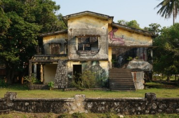 One of Kep's many crumbling mansions