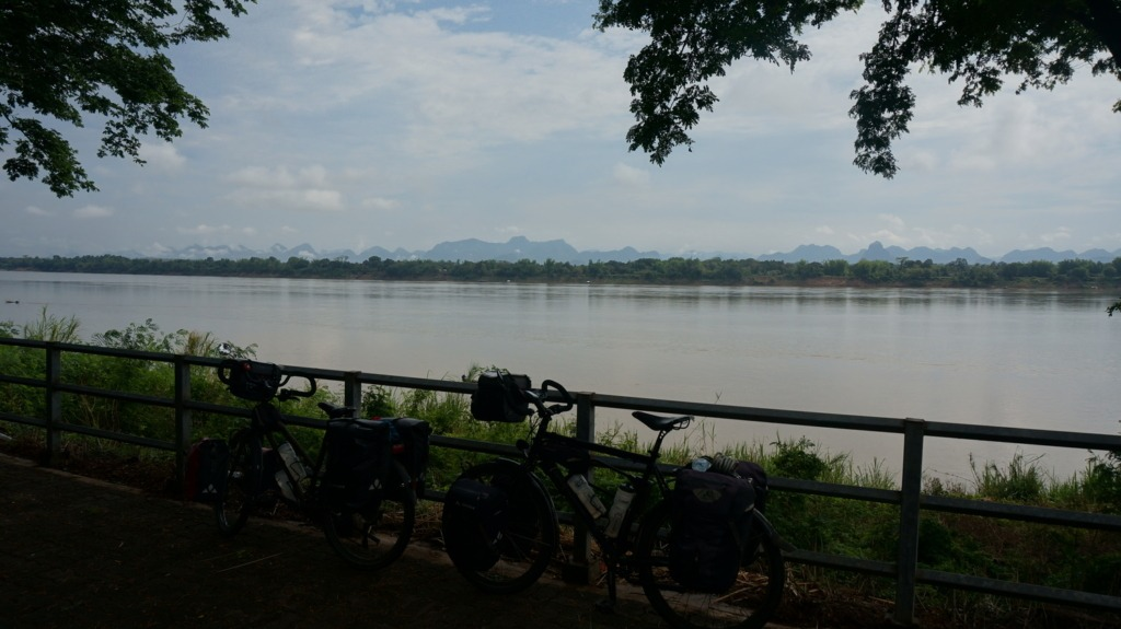 Our bicycles in front of the Mekong